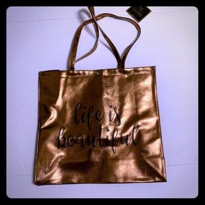 Handbags - GLAM Bronze Life is Beautiful Tote [AC-14]